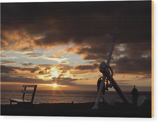 Anchored To The View Wood Print