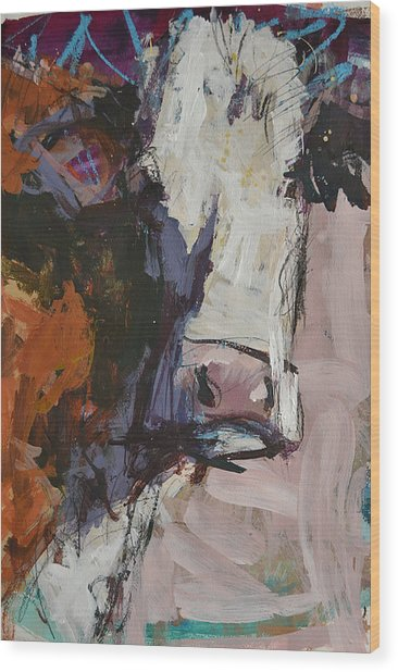Modern Abstract Cow Painting Wood Print