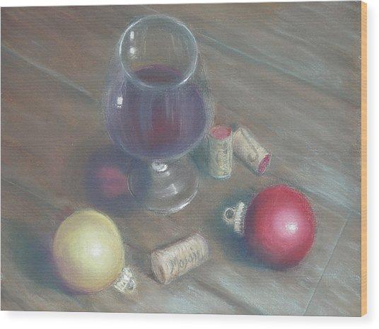A Wine Christmas Wood Print by Ellen Minter