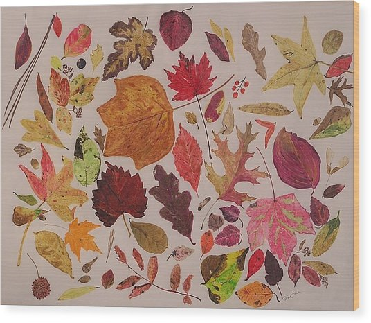 Autumn Leaves Wood Print by Diane Frick