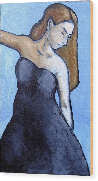 Blue And Black Wood Print