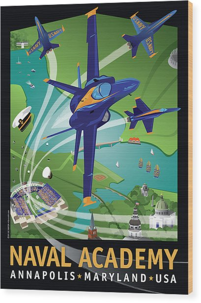 Blue Angels Over Usna Wood Print