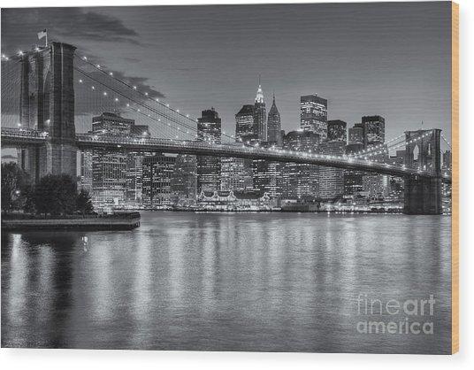 Brooklyn Bridge Twilight II Wood Print