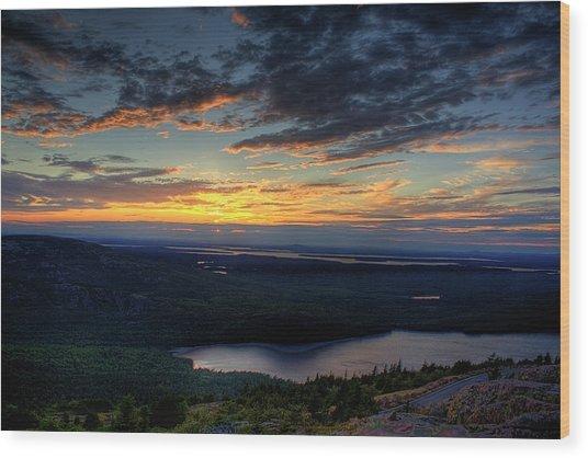 Cadillac Mountain Sunset I Hdr Wood Print