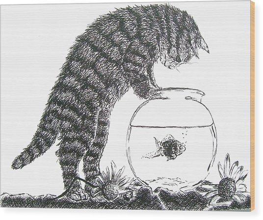 Cat And Fishbowl Wood Print