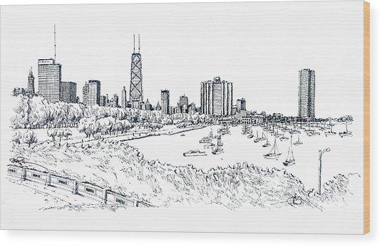 Chicago Lake Front  Wood Print