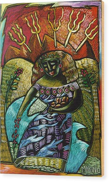 Coffee Goddess Wood Print by Angelina Marino