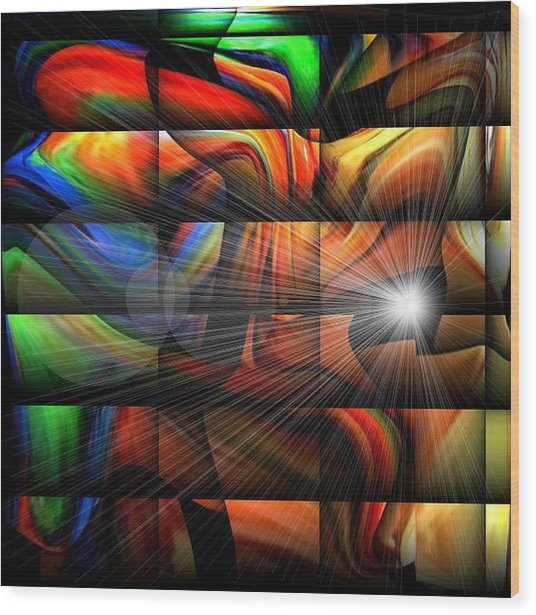 Colorful Abstract Sunburst Wood Print by Teo Alfonso
