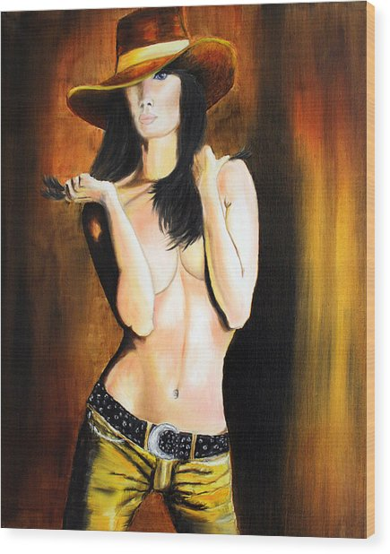 Cowgirl Painting Wood Print