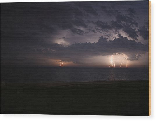 Electrical Storm Over Lake Michigan Wood Print by Christopher Purcell