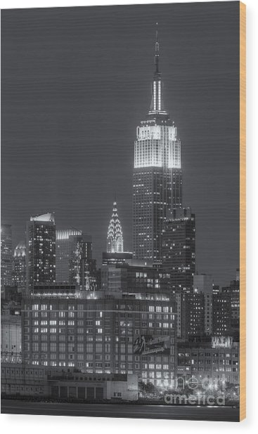 Empire State And Chrysler Buildings At Twilight II Wood Print