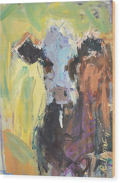 Expressive Cow Artwork Wood Print