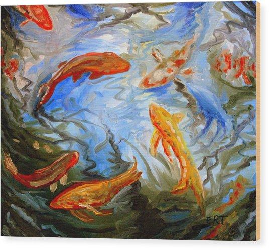 Fish Reflections Wood Print
