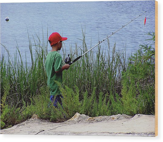 Fishing At Hickory Mound Wood Print