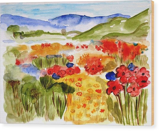 Flowery Meadow Wood Print