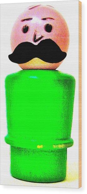 Green Man Mustache Wood Print