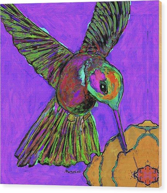 Hummingbird On Purple Wood Print