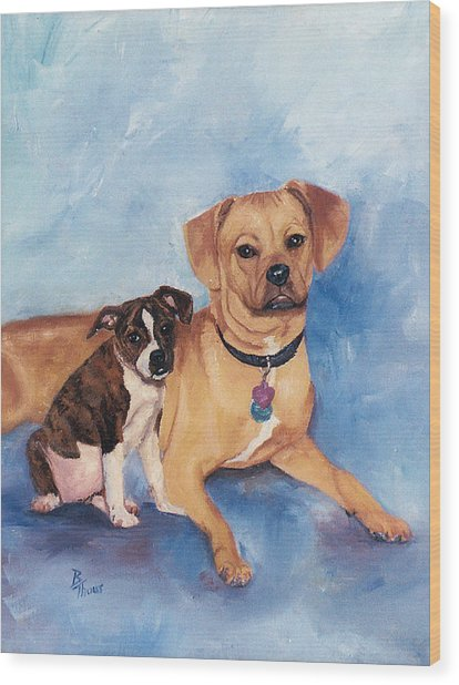Jaz And Lily Wood Print by Brenda Thour
