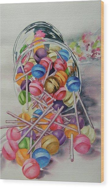 Lollypops Wood Print