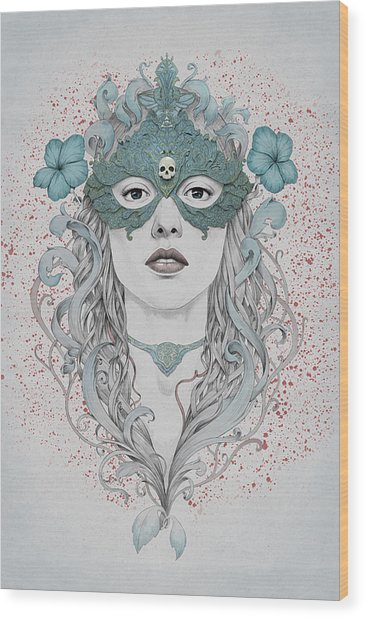Masked Wood Print by Diego Fernandez