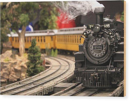 Model Train Wood Print