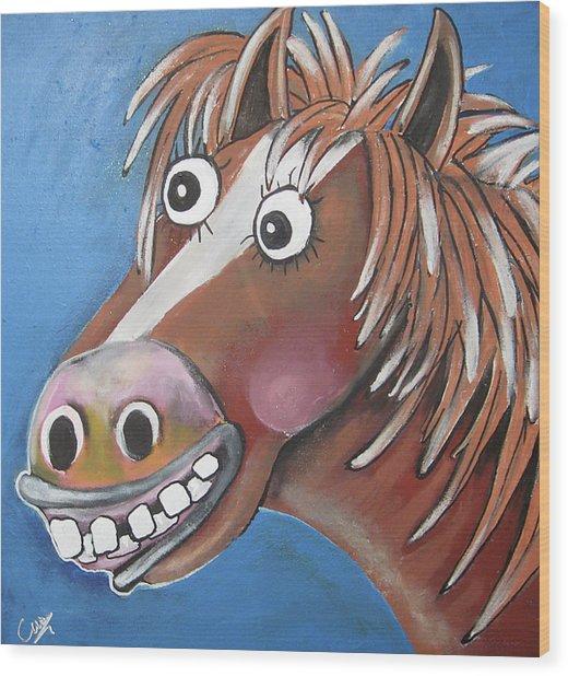 Mr Horse Wood Print