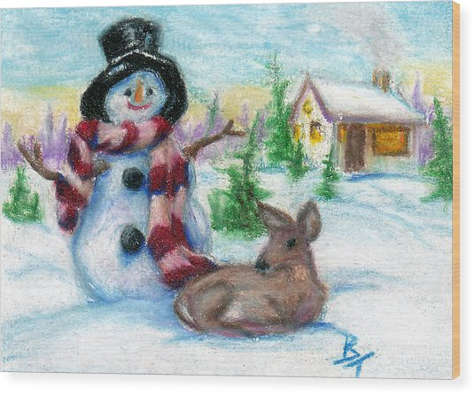 Mr. Snowman Aceo Wood Print