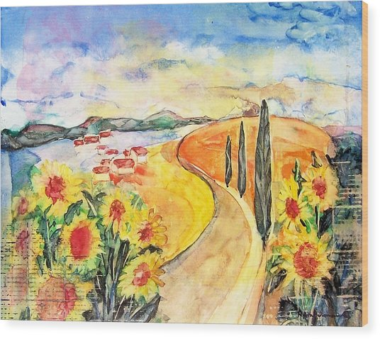 Over The Tuscan Hills Wood Print by Regina Ammerman