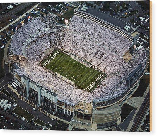 Penn State Aerial View Of Beaver Stadium Wood Print