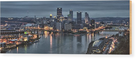 Pittsburgh Skyline 2 Wood Print by Wade Aiken