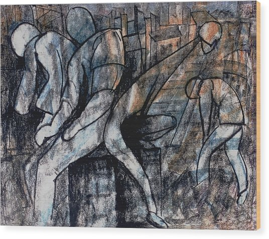 Post-modern Haste Wood Print by Mushtaq Bhat