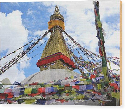 Pray Flags Boudhanath Kathmandu Wood Print