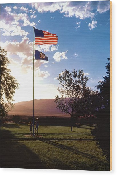 Rally Around The Flag Wood Print