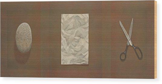 Rock Paper Scissors Wood Print