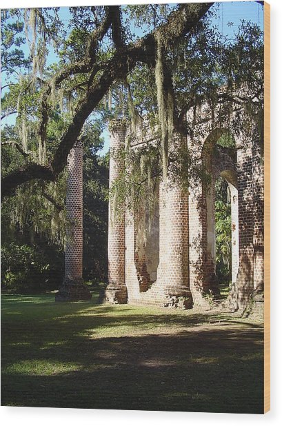 Ruins Of The Old Sheldon Church Wood Print by Richard Marcus