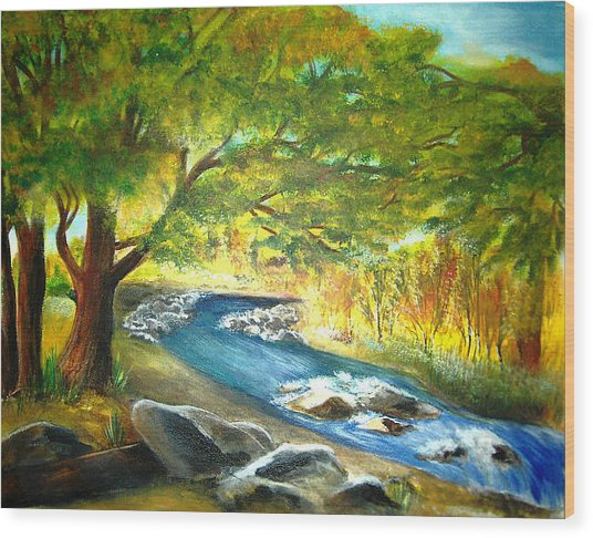 Running Waters Wood Print by Vivian  Mosley