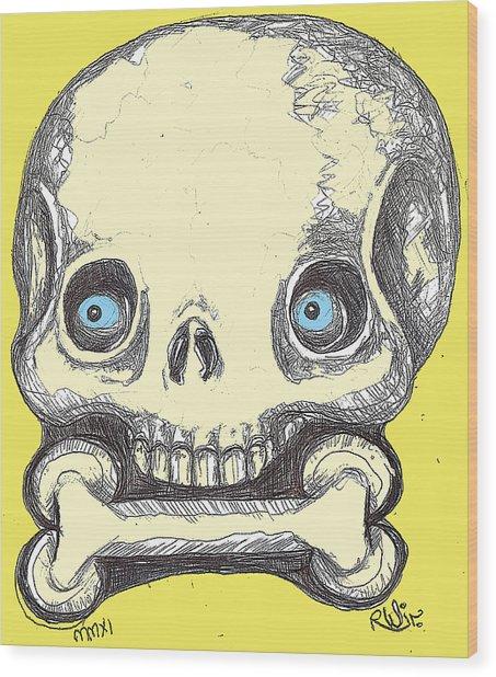 Skullnbone Wood Print by Robert Wolverton Jr