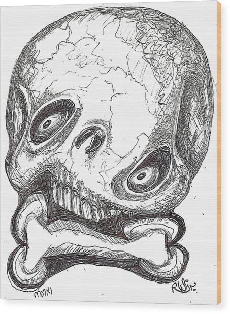 Skullnbone Twisted Wood Print by Robert Wolverton Jr