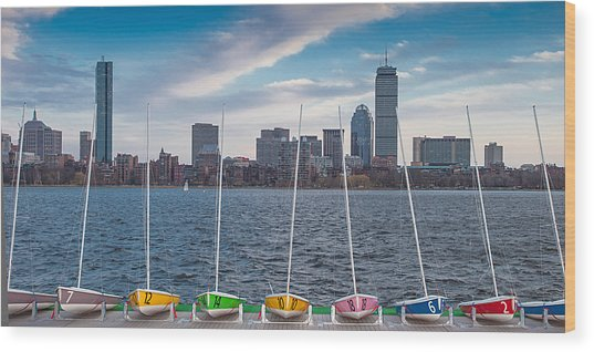 Skyline Sailboats Wood Print