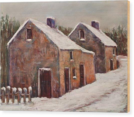 Snow Fall In Ireland Wood Print by Joyce A Guariglia