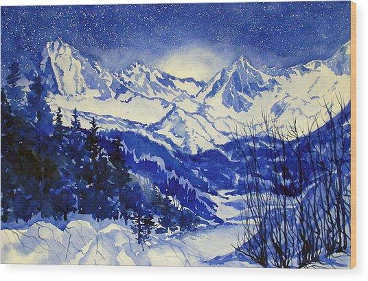 South Lake Blue Wood Print