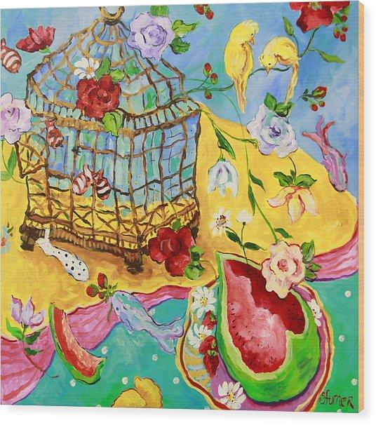 Springtime Romance Wood Print by Sharon Furner