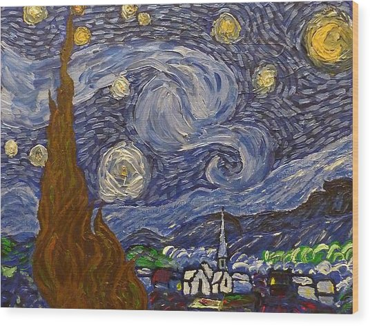 Starry Night - An Ode To Vincent Wood Print