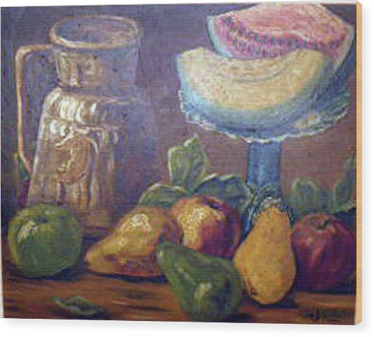 Still Life With Pears And Melons Wood Print by Hilda Schreiber