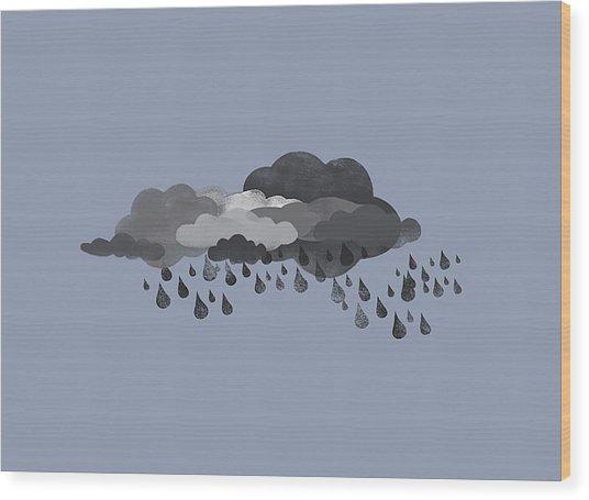 Storm Clouds And Rain Wood Print