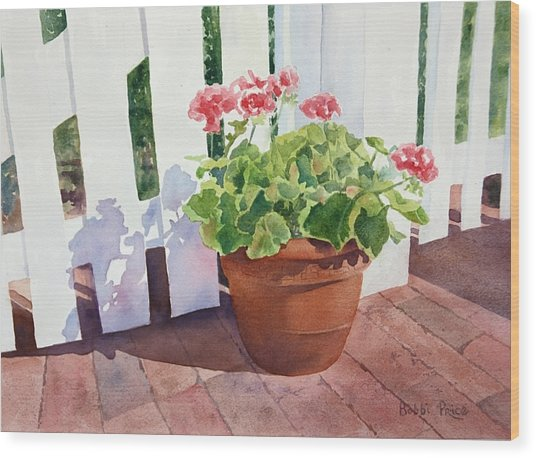 Sunny Day Geraniums Wood Print by Bobbi Price