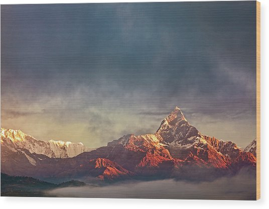 Sunrise On Anapurna Wood Print