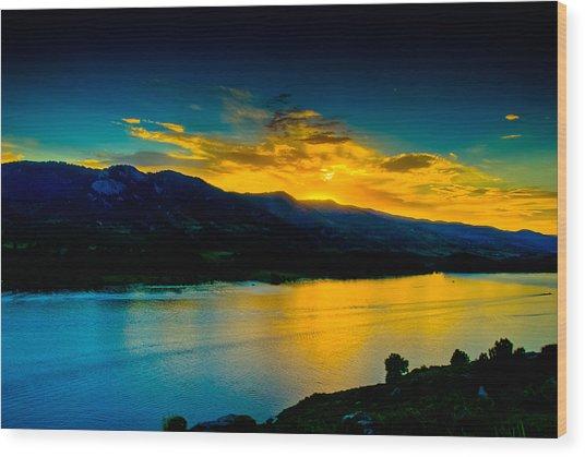 Sunset At Horsetooth Reservoir Wood Print