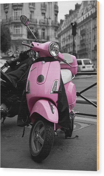 Vespa In Pink Wood Print