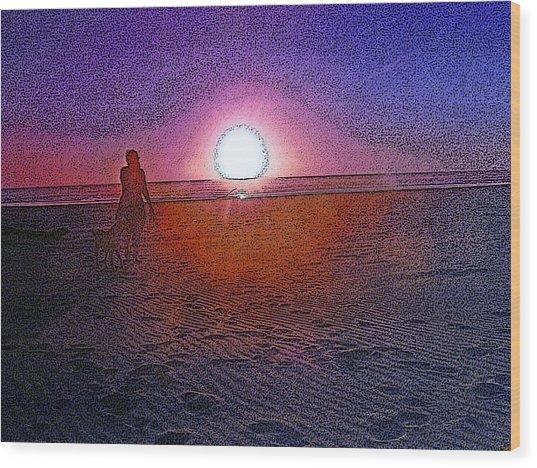 Walking In The Glow Wood Print
